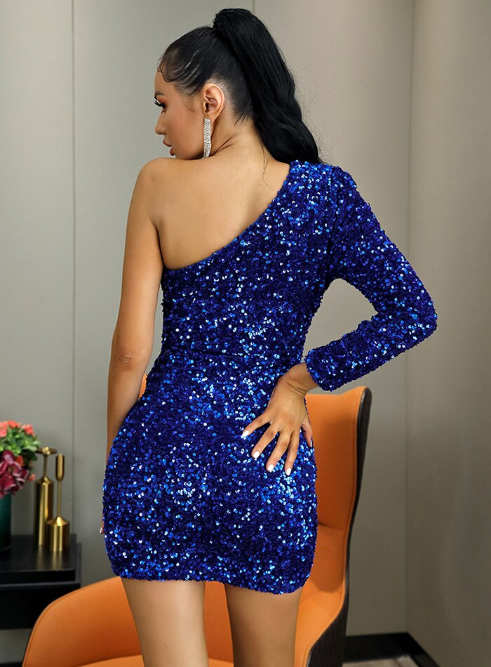 One Shoulder Bodycon Blue Sequins Party Mini Dress