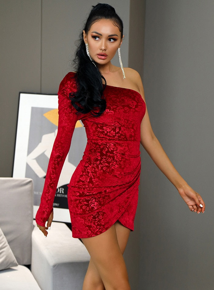 Off-Shoulder Floral Velvet Bodycon Mini Party Dress
