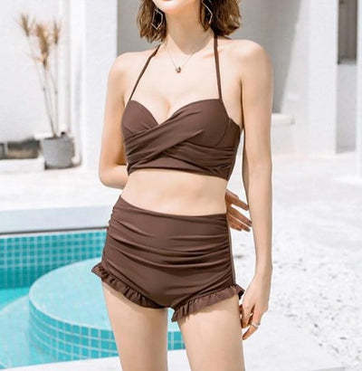 Flora V-neck High-waisted Swimsuit With Cover
