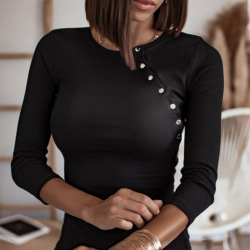 Casual Black Slim Fit Button Round Neck Pullover