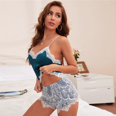 Colorblock Lace Trim Satin Cami Top and Shorts PJ Set