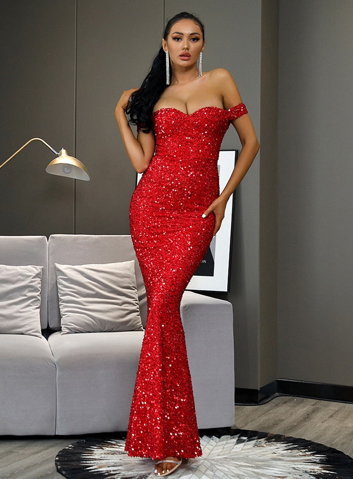 Red Sequin Bodycon Fishtail Prom Party Maxi Dress
