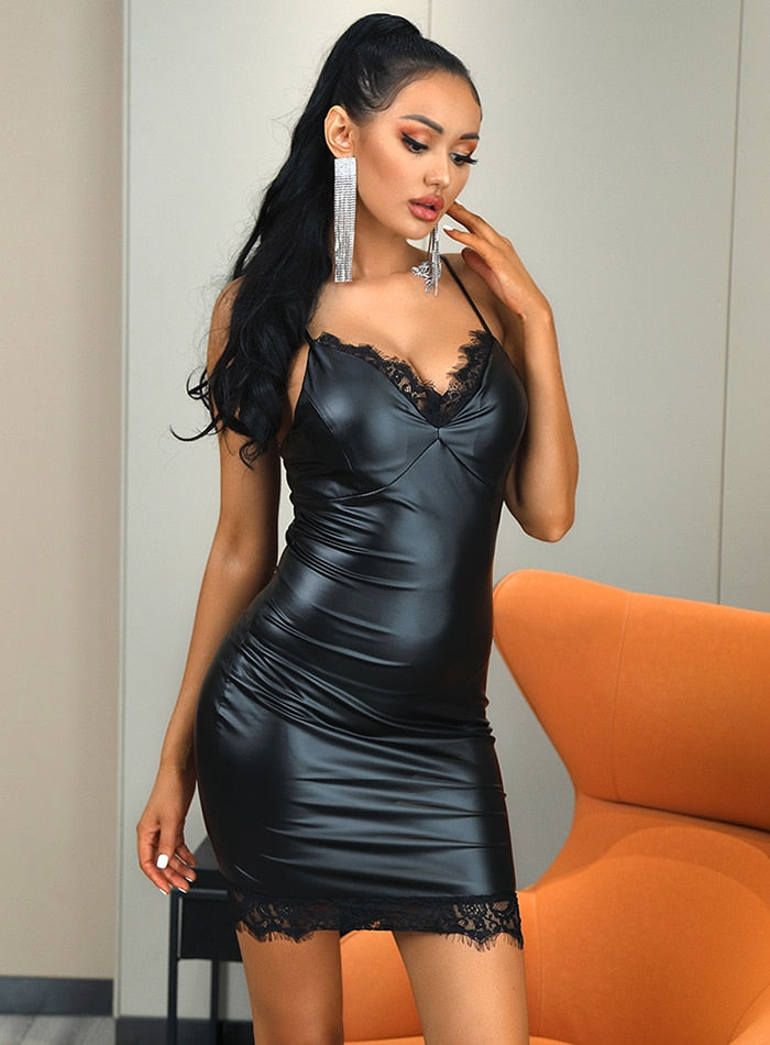Black V-Neck PU And Lace Bodycon Party Mini Dress