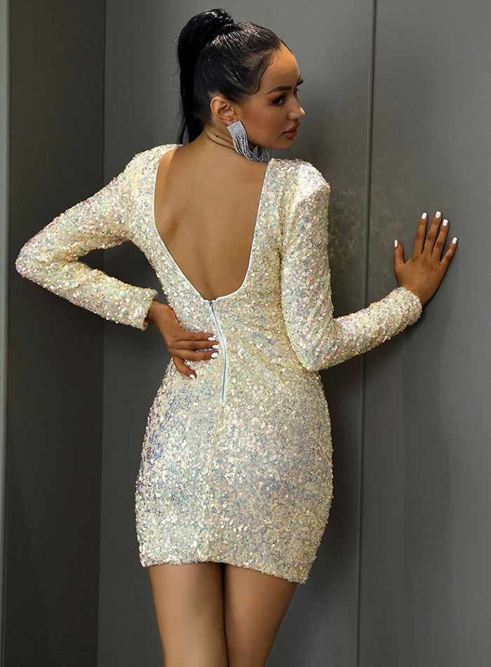 Light Yellow Open Back Sequin Bodycon Party Mini Dress