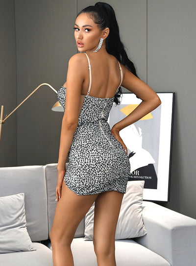 Tube Top Mesh Leopard Print Sequin Bodycon Party Mini Dress