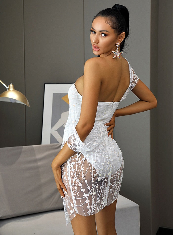 Sexy White Cross Style Glitter Glued Party Mini Dress