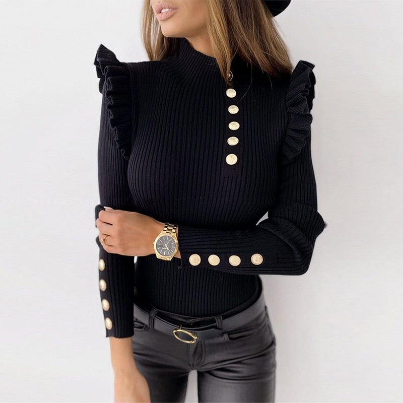 Striped High Neck Ruffle Sweater