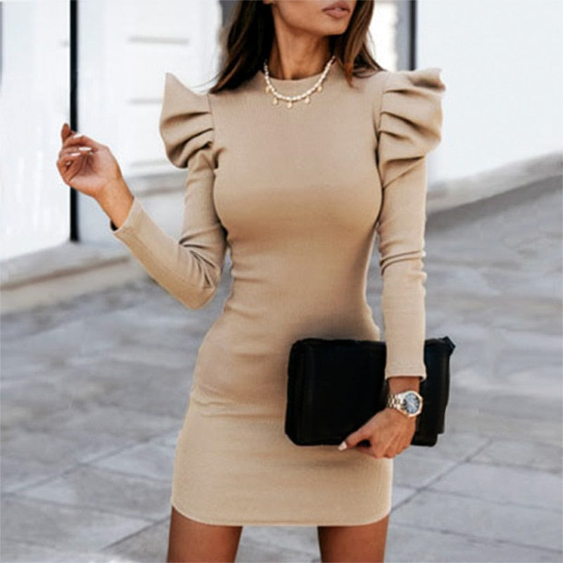 Casual Khaki Cotton Knitted Mini Dress