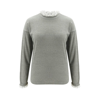 Grey Round Neck Lace Edge Sweater