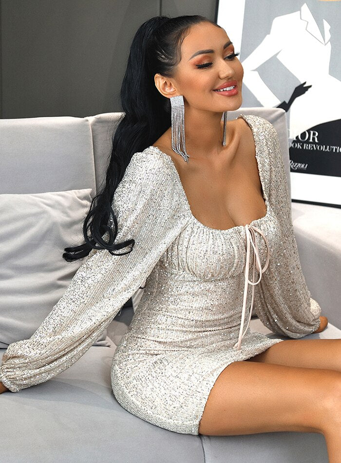 Tube Top Cut Out Lace Silver Sequin Bodycon Mini Dress