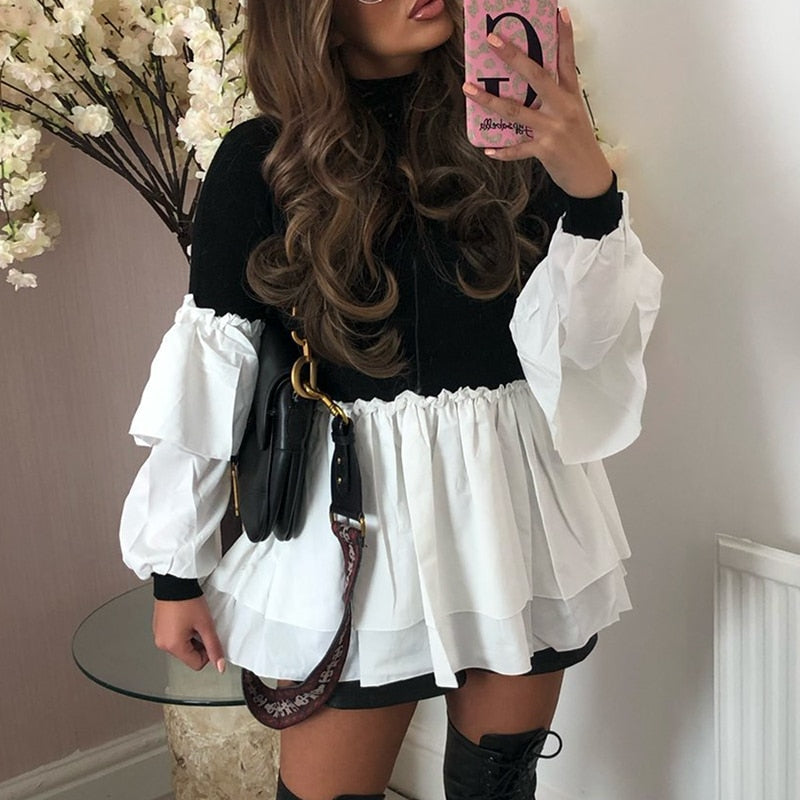Casual Patchwork High Neck Ruffle Top