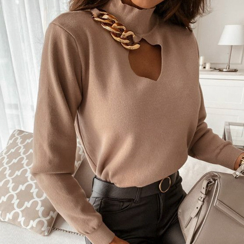 Solid Chain High Neck Keyhole Pullover