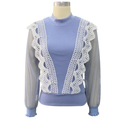 Elegant Solid Lace Mesh Lantern Sleeve Pullover