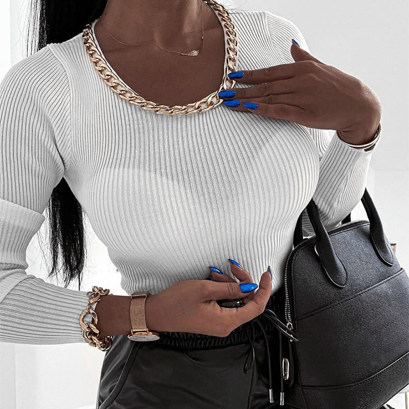 O neck Chain Long Sleeves Sweater