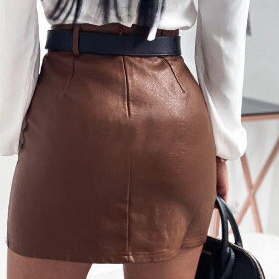 Heavy Rivets Pu Leather Short Skirt