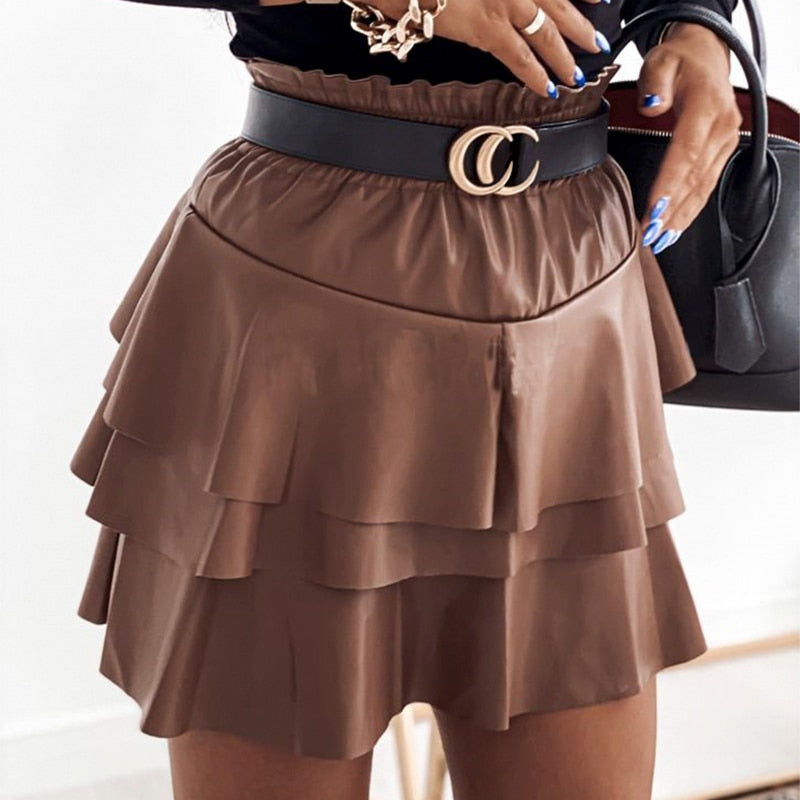 Ruffled Slim Faux Leather Skirt