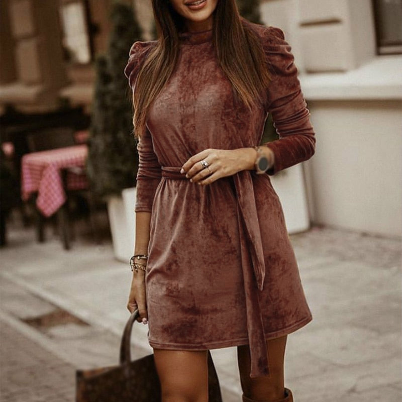 Velvet Long Puff Sleeve Mini Knit Dress