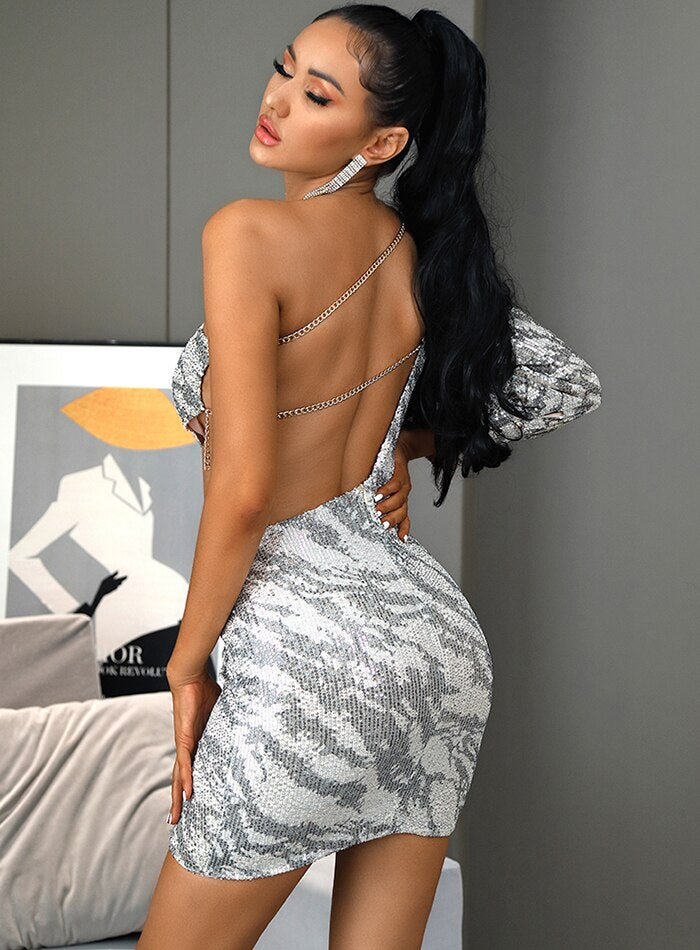 Cut Out Sequins Open Back Metal Chain Bodycon Party Mini Dress