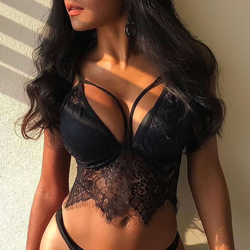 Lace Black Sexy Lingerie Bra And Panty Set