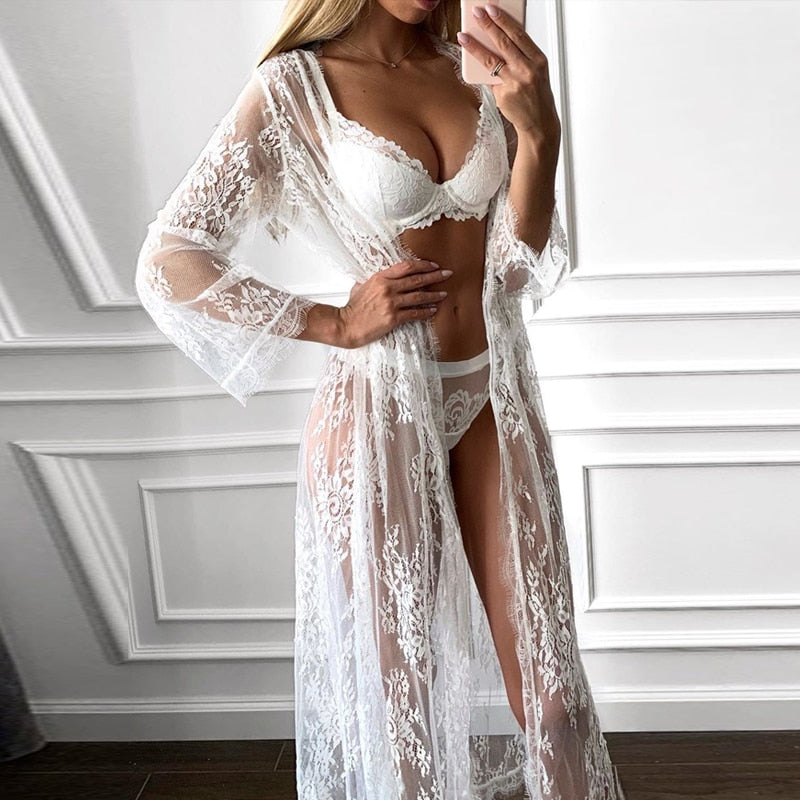 White Lace Nightgown 3 Piece Set