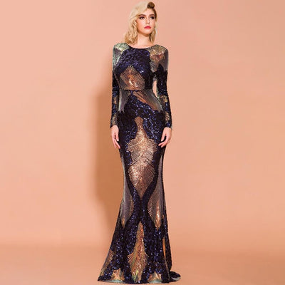 Prom O Neck Multi Long Sleeve Backless Sequin Maxi Dress - Dresses