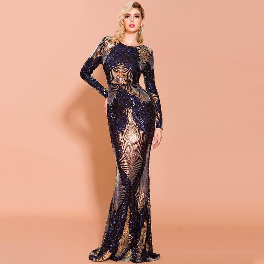 Prom O Neck Multi Long Sleeve Backless Sequin Maxi Dress