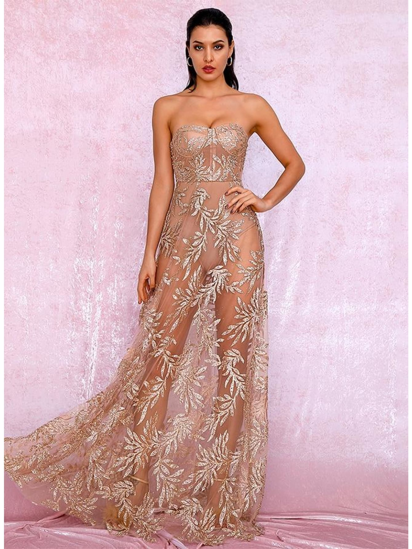 Prom Rose Gold Off-Shoulder Leaf Pattern Sequin Maxi Dress