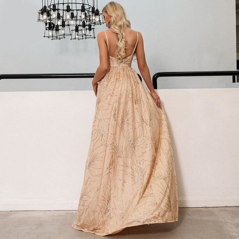 Prom V Neck Off Shoulder Glitter Maxi Dress - Gold / L - Dresses