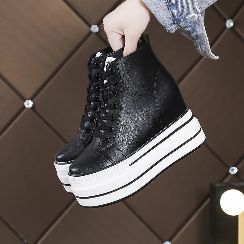 PU Black Casual Platform Sneakers - Black / 8.5 - Womens Sneakers