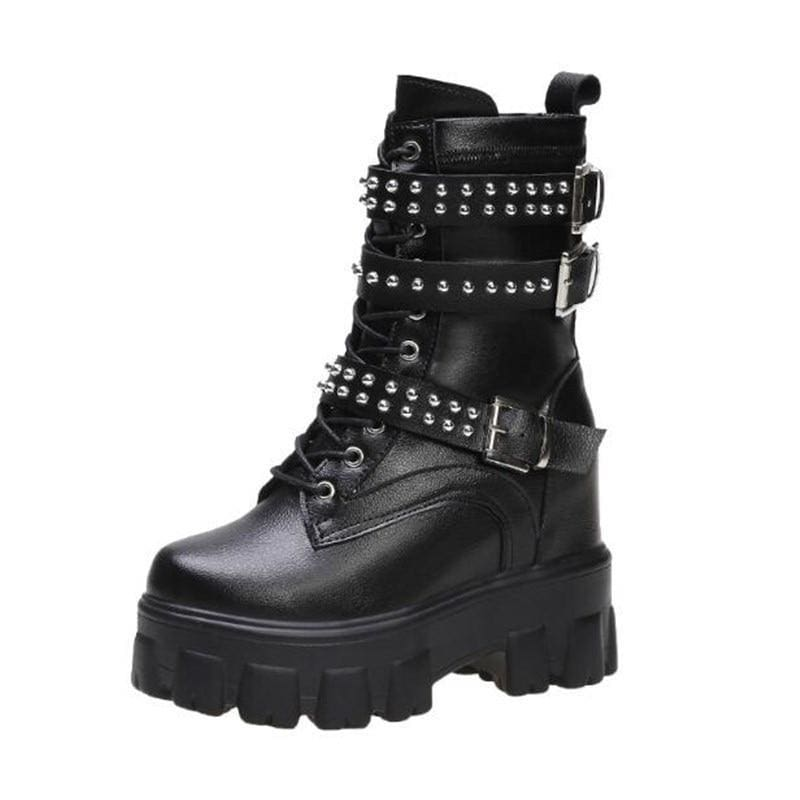 PU Lace Up Chunky Platform Warm Boots - Womens Sneakers