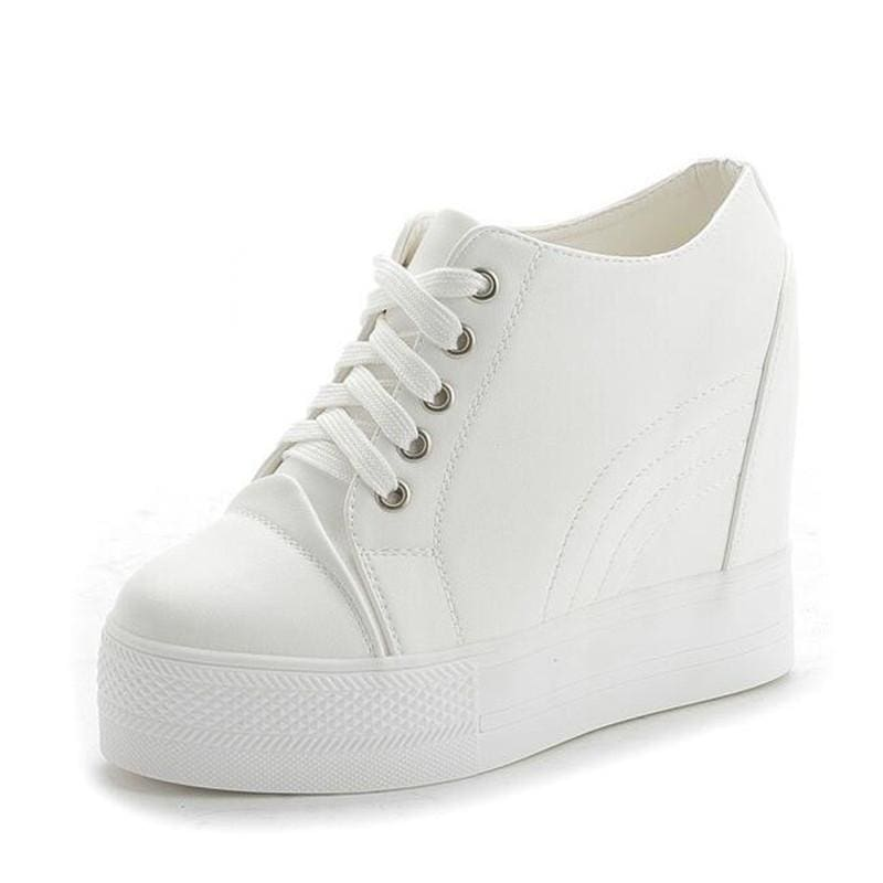 PU Leather Casual Platform Sneakers - White / 4 - Womens Sneakers