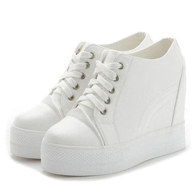 PU Leather Casual Platform Sneakers - Womens Sneakers