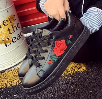 PU Leather Flower Embroidery Espadrilles - Womens Sneakers