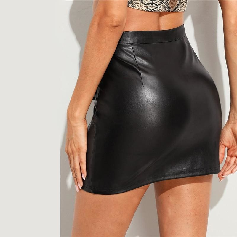 PU Leather Pencil O-ring Zip Skirt
