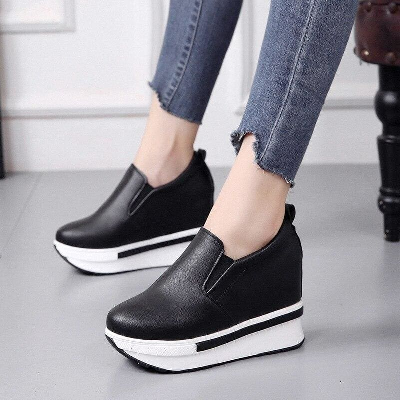 PU Leather Platform Sneakers - Black / 5 - Womens Sneakers