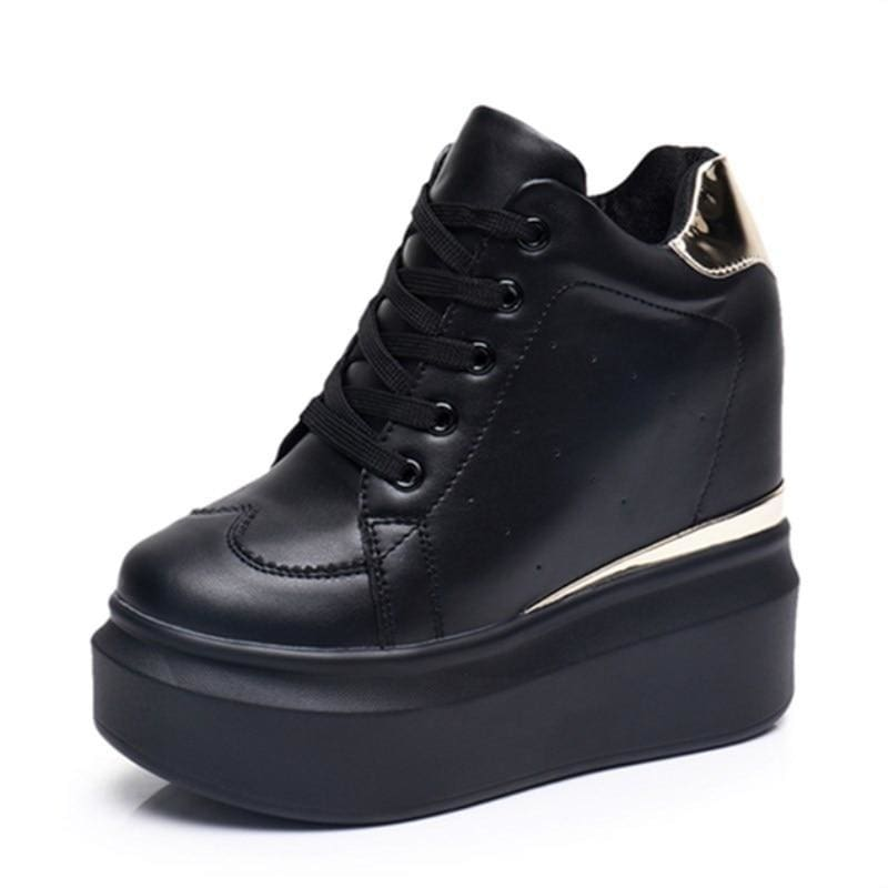 PU Leather Platform Sneakers - Womens Sneakers