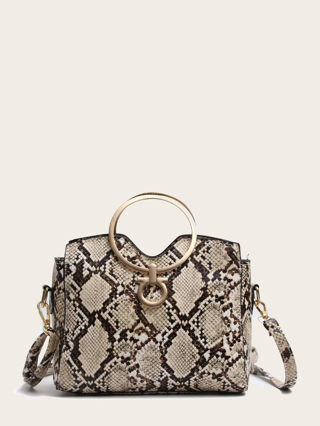 PU Shoulder Bag With Ring Handle