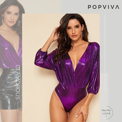 Purple Plunge Neck Metallic Surplice Bodysuit - Bodysuits