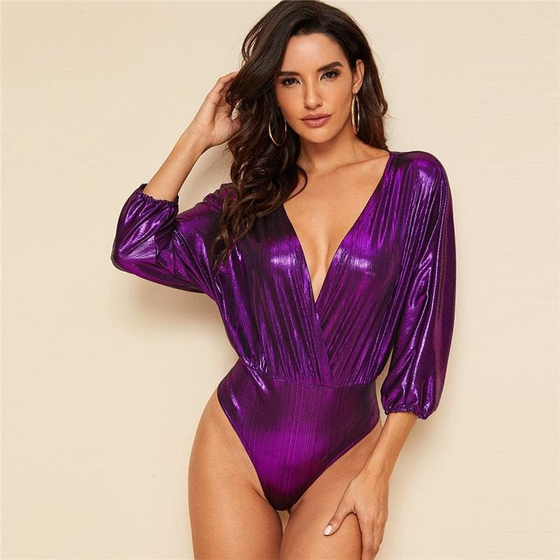 Purple Plunge Neck Metallic Surplice Bodysuit