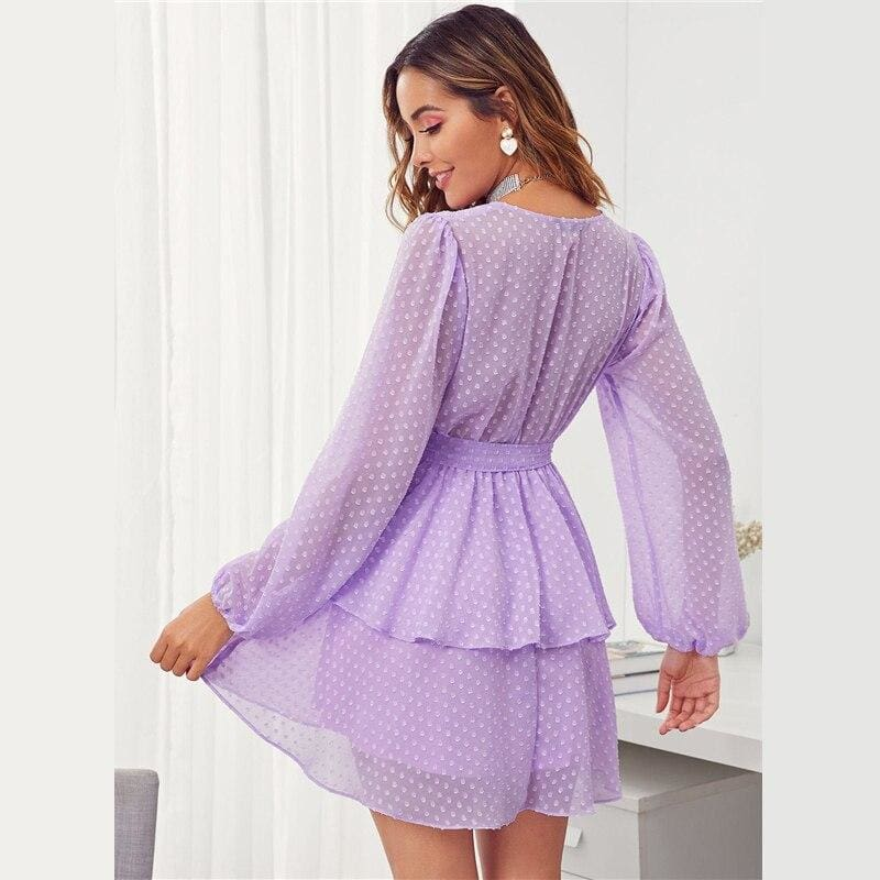 Purple Plunging Neck Double Layer Hem Swiss Dot Mini Dress