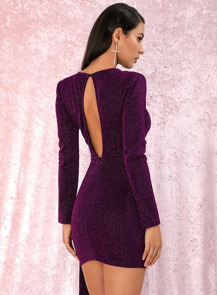 Purple Round Neck Slim Fit Ribbon Glow Party Mini Dress