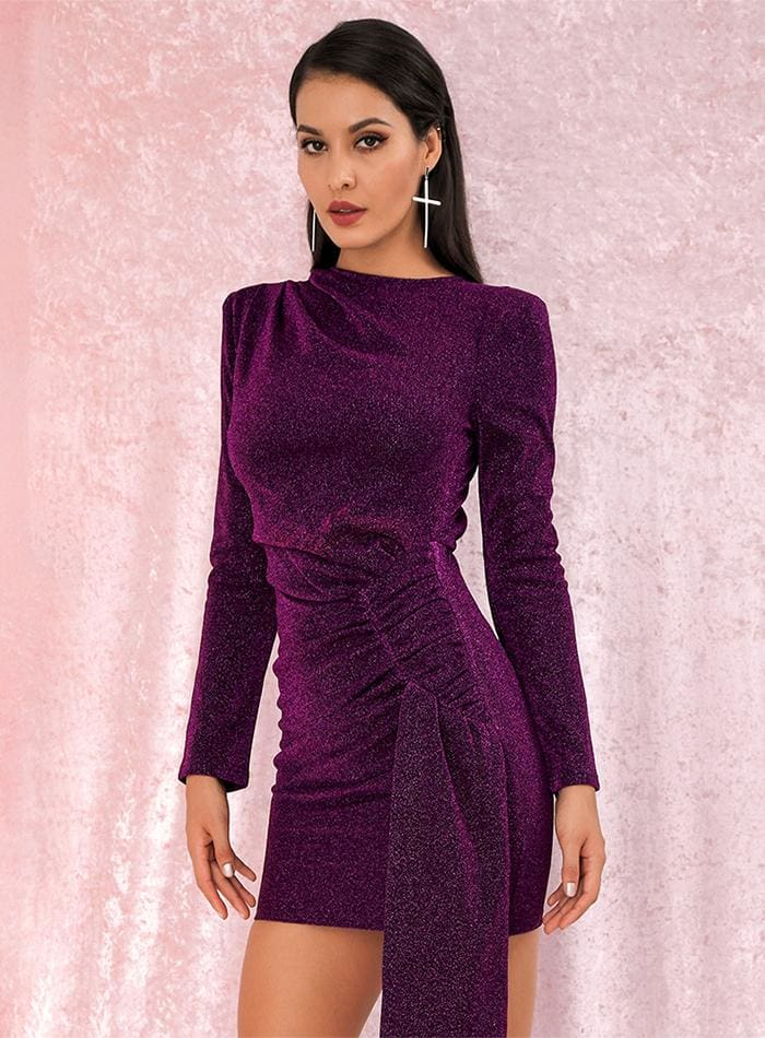 Purple Round Neck Slim Fit Ribbon Glow Party Mini Dress - Dresses