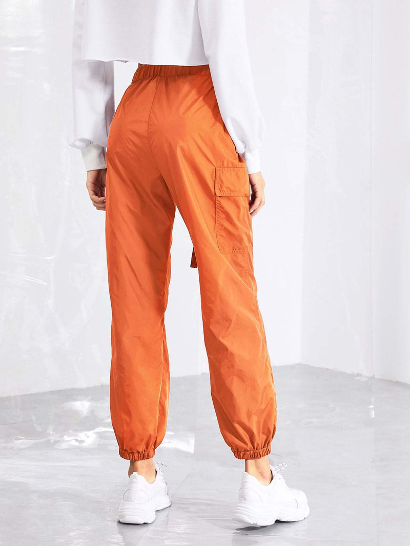Push Buckle Belt Front Elastic Hem Pants