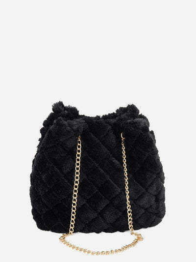 Quilted Detail Fuzzy Chain Tote Bag - Womens Bag