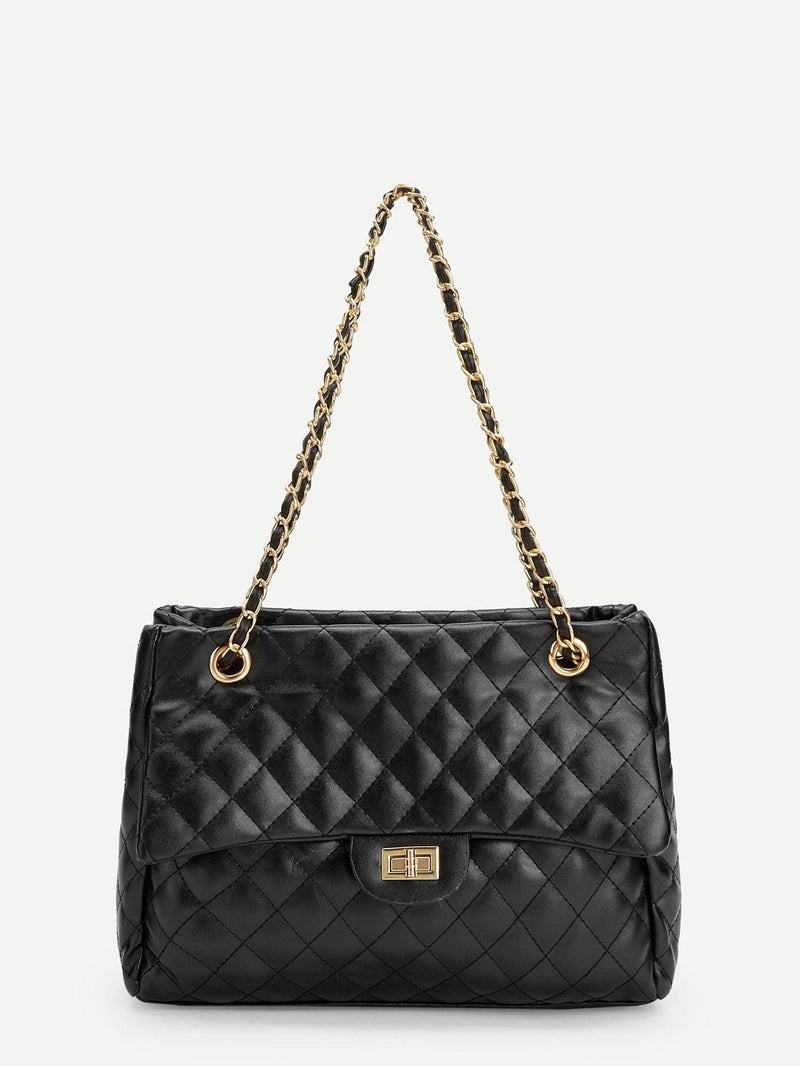 Quilted Satchel Bag With Chain - Womens Bag
