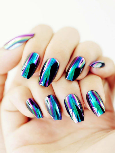 Rainbow Fake Nails 24Pcs - Beauty Tools