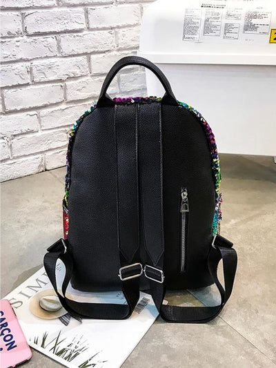 Rainbow Sequins Decor Backpack - Womens Bag