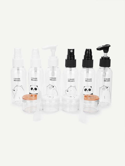 Random Color Cartoon Print Travel Bottle Set 6Pcs - Beauty Tools