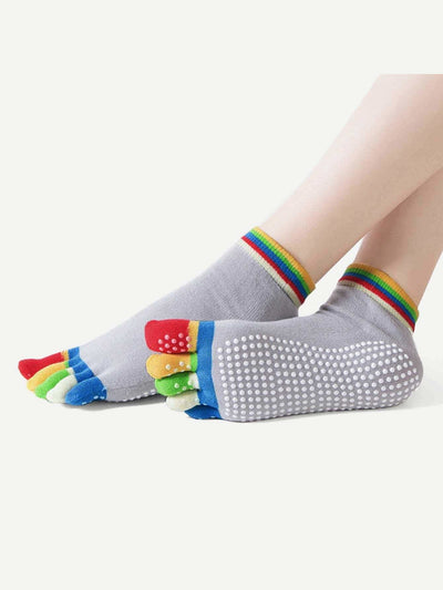 Random Color Yoga Non-Slip Massage Five Toe Socks - Personal Care