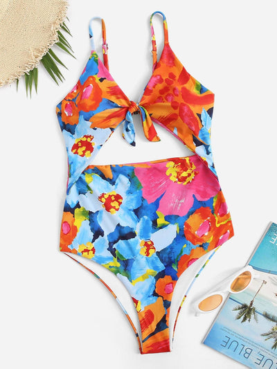 Random Floral Cut-Out One Piece Swimsuit - One Piece Swimwear